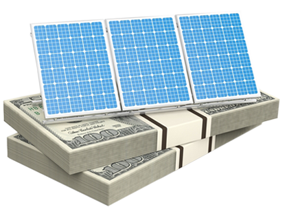 solar panels on top of dollars